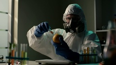 Producing GMO citrus sample. DNA modified fruits and vegetables. Experiments Stock Footage
