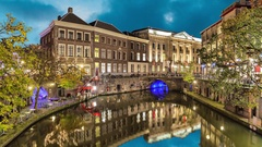 Canal in the historic center of Utrecht in the evening Stock Footage