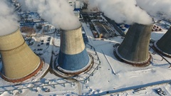 Smoke and steam from smokestacks. Industrial power plant. Contamination Stock Footage