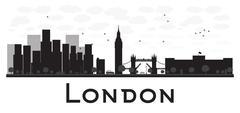 London skyline black and white silhouette Piirros
