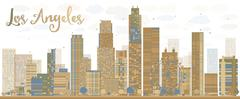 Los Angeles Skyline with Grey Buildings and Blue Sky Stock Illustration