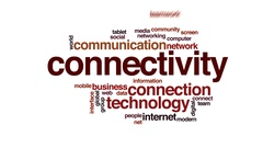 Connectivity animated word cloud, text design animation. Stock Footage