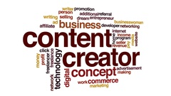 Content creator animated word cloud, text design animation. Stock Footage