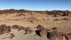 Pan from the landscape around Mount Teide Stock Footage