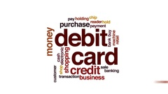 Debit card animated word cloud, text design animation. Stock Footage