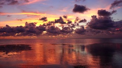 Colorful Sunset in the Florida Keys Sun Setting Over Gulf of Mexico Stock Footage