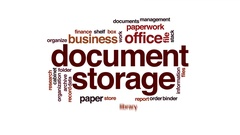 Document storage animated word cloud, text design animation. Stock Footage