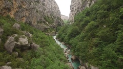 AERIAL SHOT OF VERDON CANYON RIVER Stock Footage