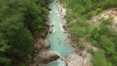 AERIAL SHOT OF PEOPLE IN RIVER OF VERDON CANYON Stock Footage