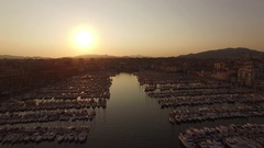 AERIAL SHOT OF OLD HARBOUR OF MARSEILLE Stock Footage
