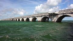 Overseas Highway Bridge Over Water in the Florida Keys Stock Footage