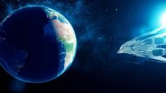 Alien spacecraft flies past Earth Stock Footage