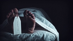 4K Crime Morgue Dead Body Feet with Unidentified Tag, dolly Stock Footage