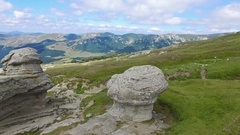 Aerial view of Babele natural monument in Bucegi mountains, Romania Stock Footage