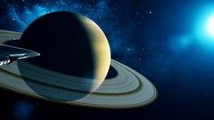 Alien spacecraft flies past Saturn Stock Footage