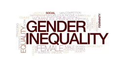 Gender inequality animated word cloud, text animation. Kinetic typography. Stock Footage