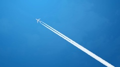 Jet airplane with white trail Stock Footage