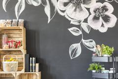 Room wall with flower motive Stock Photos