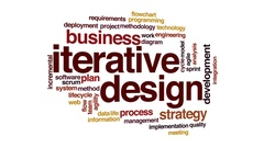 Iterative design boost animated word cloud, text design animation. Stock Footage