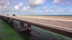 Cars on Seven Mile Bridge Over Ocean in the Florida Keys Stock Footage