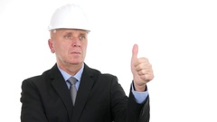 Sober Businessman Engineer Serious Make Thumbs Up Hand Gesture Meaning Good Job. Stock Footage