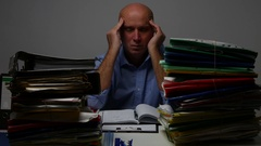 Very Tired Business Person Late After Working Program Suffering a Headache. Stock Footage