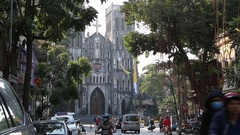 Vietnam, Hanoi -  View of the St. Joseph's Cathedral Stock Footage