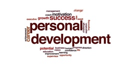 Personal development animated word cloud, text design animation. Stock Footage