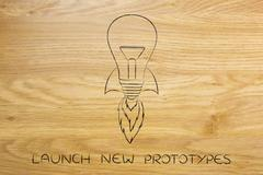 Launch new ideas: lightbulb with rocket setup Piirros