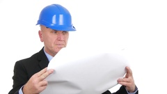 Engineer Studying Focused Building Construction Paper Plans Businessman Job. Stock Footage