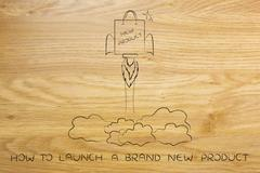 New product launch: shopping bag with rocket setup Piirros