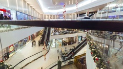 People in a hurry for Christmas gifts at the mall Plaza Shymkent. 4K TimeLapse - Stock Footage