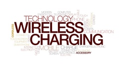 Wireless charging animated word cloud, text animation. Kinetic typography. Stock Footage