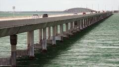 Traffic on Seven Mile Bridge Over Ocean in the Florida Keys Stock Footage