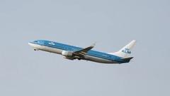 KLM airplane takeoff. Stock Footage