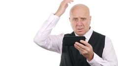 Desperate Businessman with Disappointment Hand Gestures Read Bad News on Tablet. Stock Footage