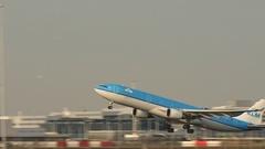 KLM long airplane takeoff. Stock Footage
