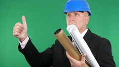 Engineer with Plans and Projects Make Hand Gesture Thumbs Up Good Job Sign. Stock Footage