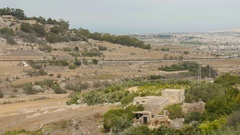 Hilly landscape of colourful agricultural land of Malta island Stock Footage