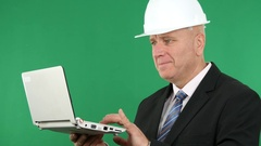 Company Businessman Engineer Workplace Image Use Laptop Accessing Data. Stock Footage