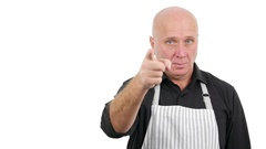 Cooking Specialist Wearing Kitchen Apron Chef Thumbs Up Sign Finger Pointing.  Stock Footage