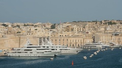 Aerial view of cruise ships in the Port of Valletta, Malta Stock Footage
