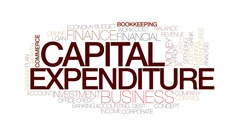Capital expenditure animated word cloud, text design animation. Stock Footage