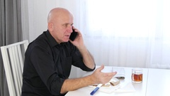 Young Business Person Take a Phone Call Have a Conversation and Enjoy Lunch. Stock Footage
