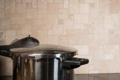 Stainless steel pressure cooker on hob Kuvituskuvat