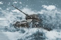 Battle Tank is moving in the snow storm Stock Illustration