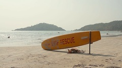 Dog sleeping under Surf Rescue surfboard on the beach Stock Footage