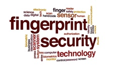 Fingerprint security animated word cloud, text design animation. Stock Footage