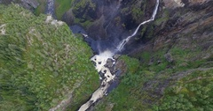 Drone shot of Vøringsfossen, Norway, slow up Stock Footage