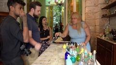 Customers in the perfume shop-museum 'Habana 1791'. Old Havana, Cuba Stock Footage